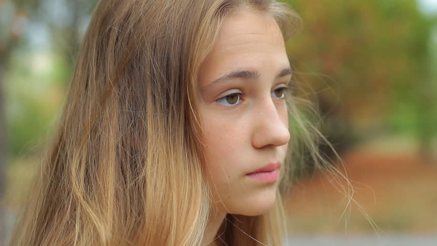Young Beautiful Girl Upset Sitting On A Park Bench Problems Of Teenagers Stock Footage Video -3442