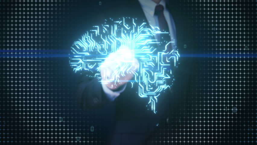 Businessman touching Brain CPU chip, grow artificial intelligence 2.