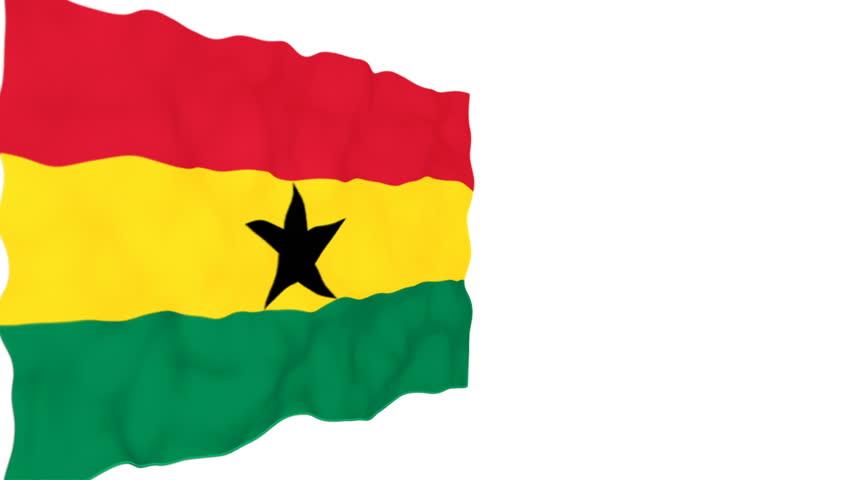 Flag of Ghana. Official Ghana flag. Isolated waving Ghana national flag on white background.