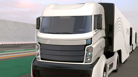Fleet of autonomous hybrid trucks driving on wireless charging lane. 3D rendering animation.