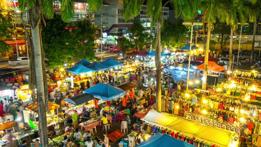 famous phuket island patong tourist night market 4k time lapse thailand