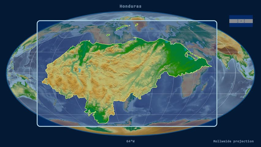 Zoomed-in view of a Honduras outline with perspective lines against a global physical map in the Mollweide projection | Shutterstock HD Video #17304280