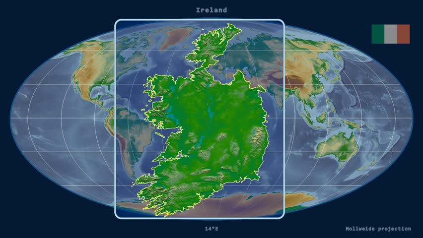zoomed in view of a ireland outline with perspective lines against a global physical map
