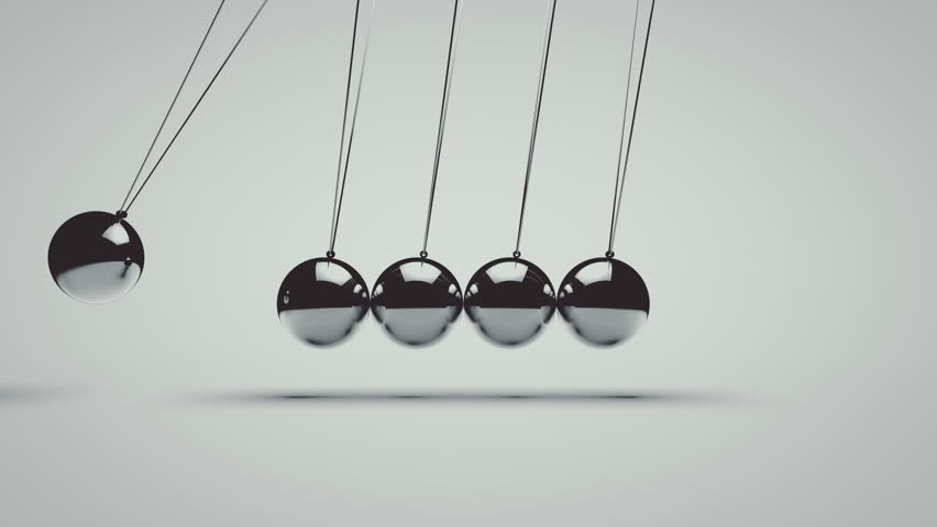 Animation of newton's cradle seamless loop 3d animation 4k