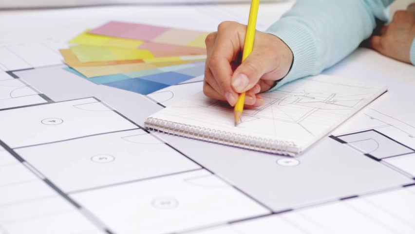 Business architecture design and people concept woman designer business architecture design and people concept woman designer with blueprint drawing to notebook malvernweather Images