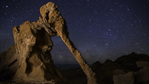 Astrophotography time lapse of Milky Way galaxy rising over Elephant Rock in Valley of Fire State Park, Nevada