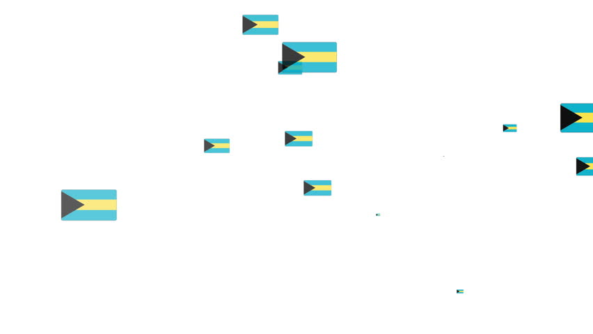Isolated moving Bahamas heart flag particles on white background. Flags of  Bahamas. Bahamas national flags.