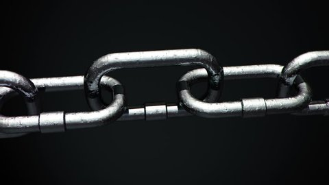 Close up of 4k Metal Chain links going limp then tightened until the weakest link explodes.