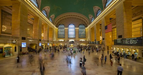 Manhattan, New York City, New York, USA - pedestrians at Grand Central Terminal inside the Main Concourse facing east - Timelapse without motion