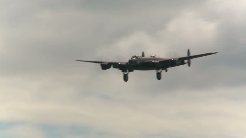 CALGARY, CANADA - AUGUST 1, 2010: Avro Lancaster bomber landing on August1, 2010 in Calgary, Canada