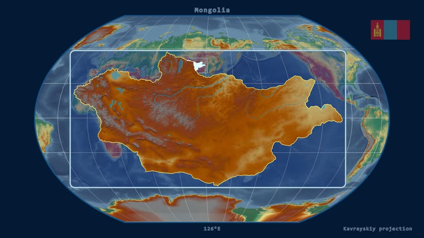 Zoomed-in view of a Mongolia outline with perspective lines against a global relief map in the Kavrayskiy VII projection | Shutterstock HD Video #17462578