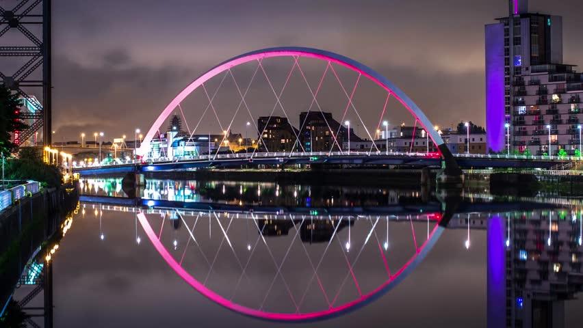 Glasgow time lapse at night, Scotland