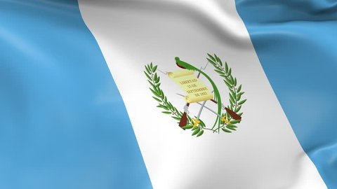 Photo realistic slow motion 4KHD flag of the Guatemala waving in the wind. Seamless loop animation with highly detailed fabric texture in 4K resolution.