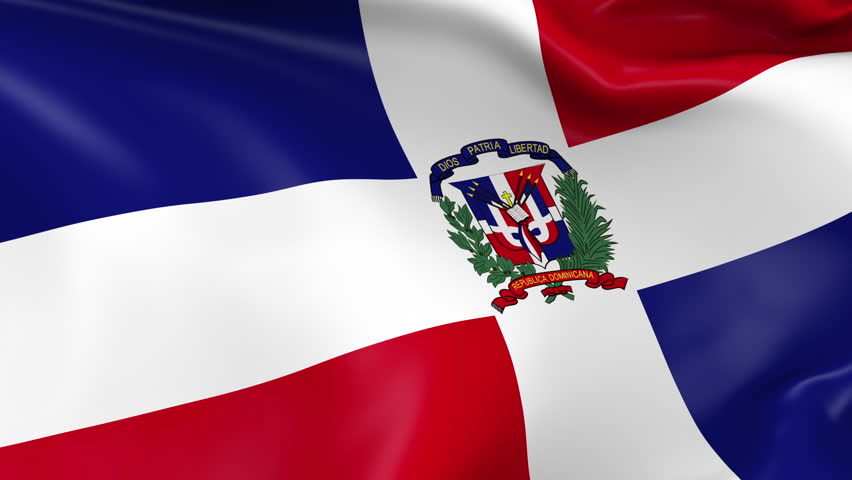 Photo realistic slow motion 4KHD flag of the Dominican Republic waving in the wind. Seamless loop animation with highly detailed fabric texture in 4K resolution.