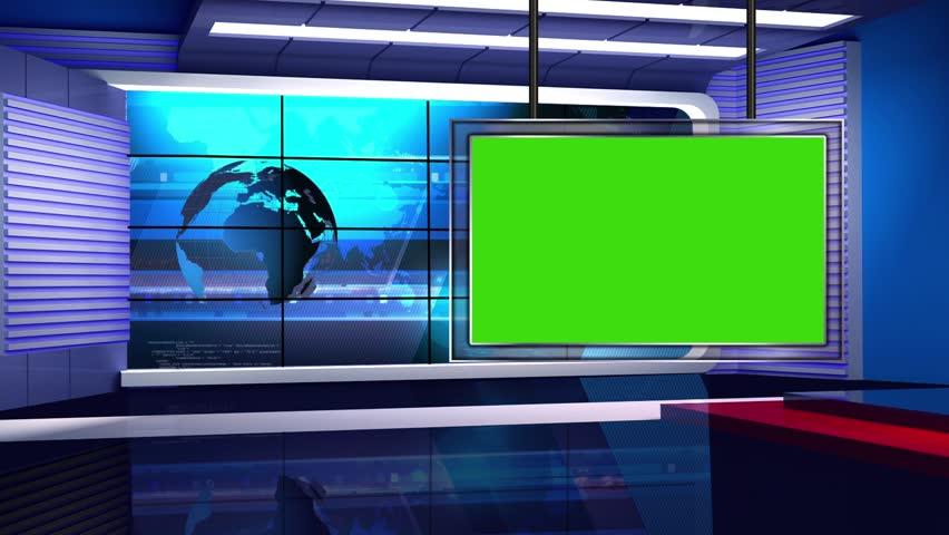 News TV Studio Set - Virtual Green Screen Background Loop