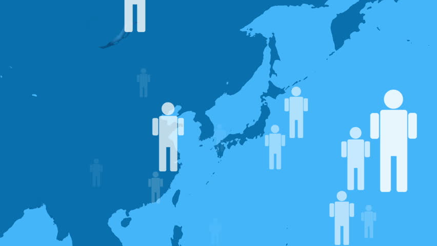 Icon People Moving around the World Map