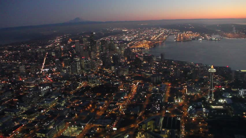 Two Aerial Night Views of Seattle