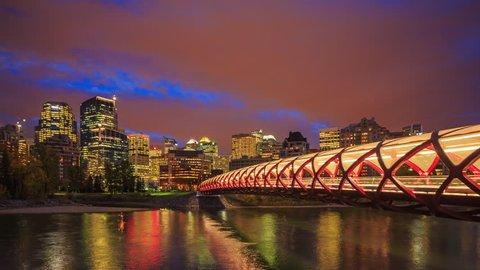 Peace Bridge over Bow River in Calgary, Canada. 25fps