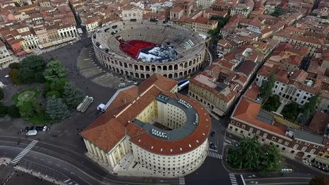 Aerial View of the City Centre of Verona and the Coliseum in Italy, Autumn