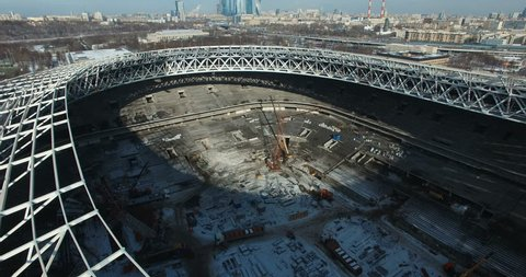Aerial view of the construction of football stadium for the European Championship 2018. Moscow, Russia