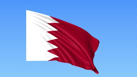 Waving flag of Bahrain, seamless loop. Exact size, blue background. Part of all countries set. 4K ProRes with alpha