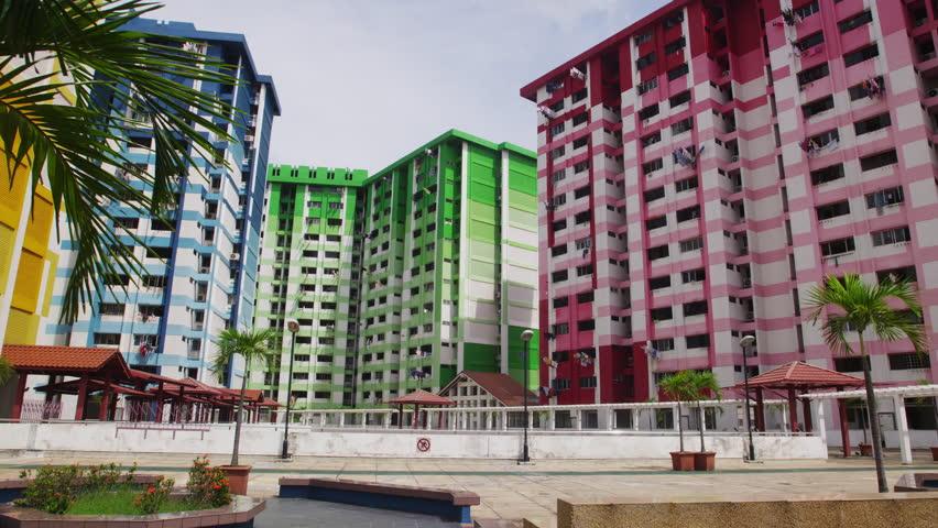 4k0021singapore may 23 2012 colorful public housing near bugis village