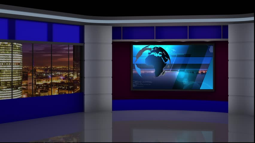 News Tv Studio Set - Stock Footage Video (100% Royalty