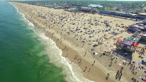 Aerial view of a crowded beach the the Jersey Shore