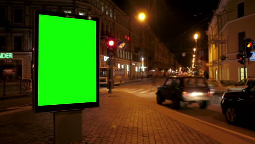 A Billboard with a Green Screen on a Busy Night Street.Time Lapse. | Shutterstock HD Video #17630920