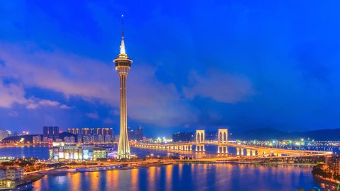 Macau Tower And Macau Bridge Day To Night Time Lapse Of Macau China