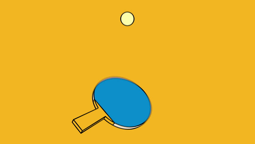 Ping pong paddle hitting a ball, animated loop, minimal design, cartoon