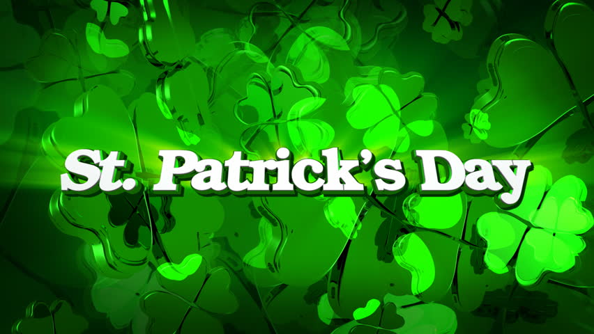 St. Patrick's Day - Green Four Leaf Clover Title