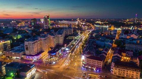 sunset minsk city center nemiga traffic street aerial panorama 4k time lapse belarus
