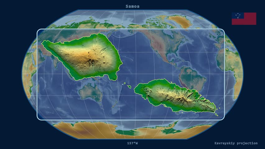 Zoomed-in view of a Samoa outline with perspective lines against a global physical map in the Kavrayskiy VII projection