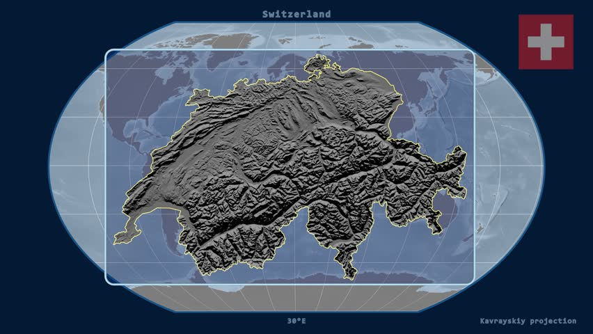 Switzerland Elevation Map.Zoomed In View Of A Switzerland Stock Footage Video 100 Royalty