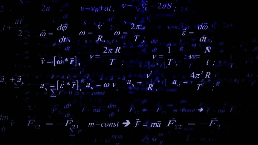 Physics formulas flying. Parallax. Good for sciense titles and background, news headline business intro screensaver and opener. School education presentation, diploma project. Science formulas.   Shutterstock HD Video #17717020