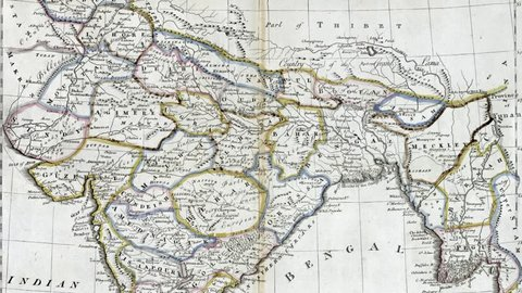 NEW YORK - DEC 15, 2015 - Antique map of India  From a 19th century atlas