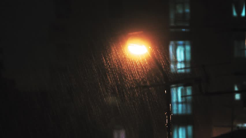 Street Lights At Night In A Rainy With Building Background Rainstorm An Urban City The Rain Stock Footage Video 17724700