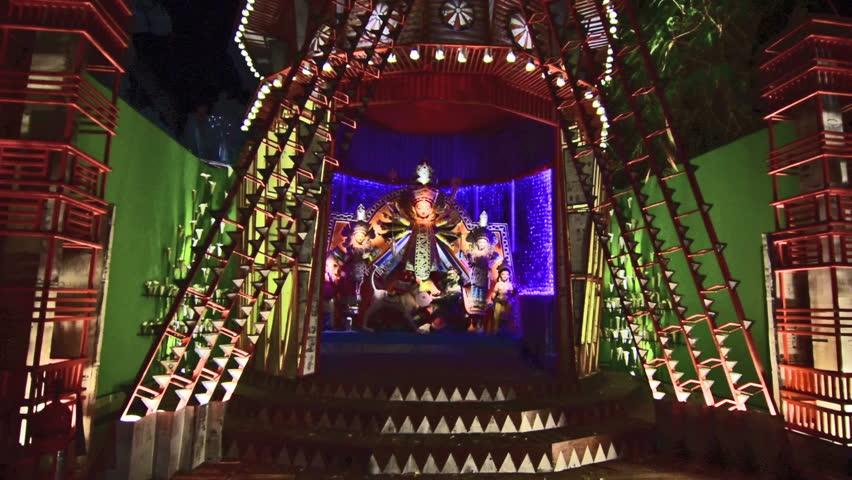Stock video clip of kolkata india october 18 2015 shutterstock hd0016kolkata india october 18 2015 night image of decorated durga puja pandal shot at colored light at kolkata west bengal india thecheapjerseys Choice Image