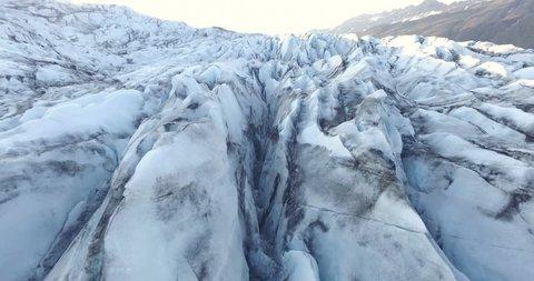 Aerial shot of Flaajokull Glacier lip in Iceland.