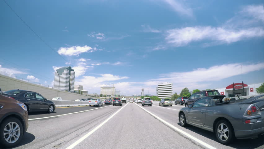 Denver, Colorado, USA-June 29, 2016. Car driving on interstate highway during the rush hour.-POV point of view.