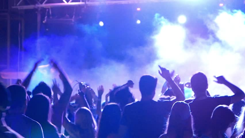 Celebration, holiday, feast. Night Beach Disco Go-go with illumination, concert. Dancing people with fun gladness on the discotheque entertainment. Gaiety merriment joyfulness of teens | Shutterstock HD Video #17751922