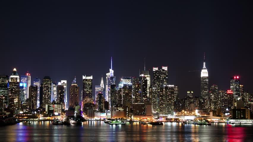 Video Stock A Tema Nyc Midtown Skyline At Night 100 Royalty Free
