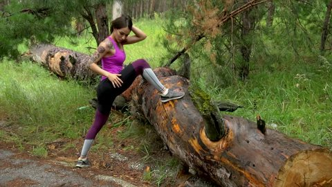 Fitness Girl in the Forest  Stock Footage Video (100% Royalty-free