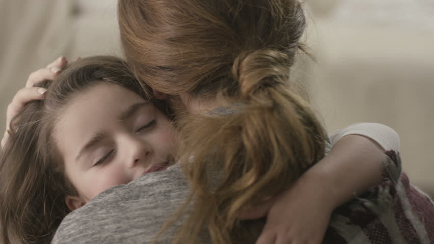 4K Daughter rushes into mother's arms at home and gives her a big hug. Shot on RED EPIC Cinema Camera in slow motion. | Shutterstock HD Video #17810761