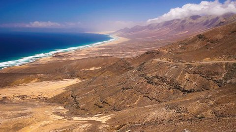 View to Cofete sandy beach with vulcanic mountains in the background on Fuerteventura, second biggest Canary island, Spain.