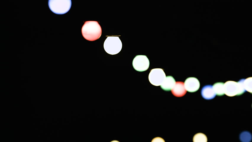 Stock Video Of Decorative Outdoor String Lights Hanging At