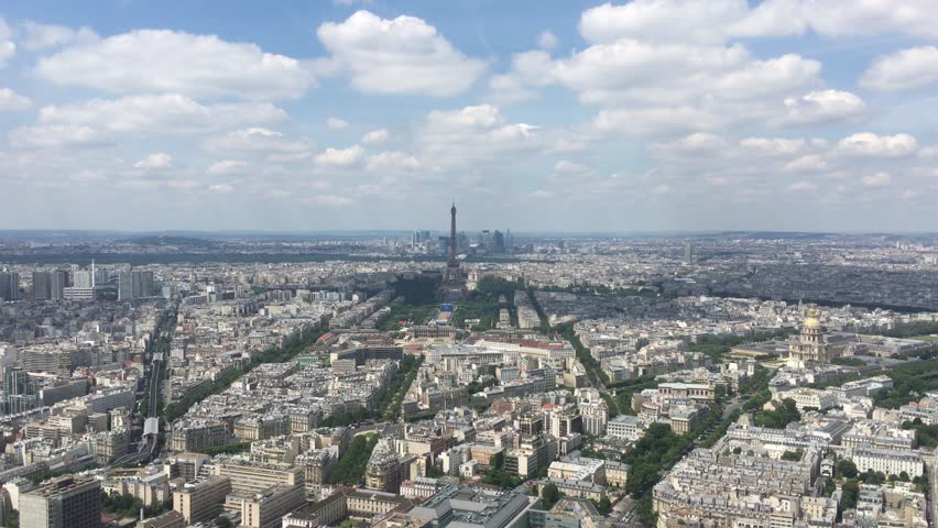 Aerial Paris Skyline On Summertime, 4K. The Montparnasse Tower Panoramic Observation Deck has the most beautiful view of Paris - 4k | Shutterstock HD Video #17875030