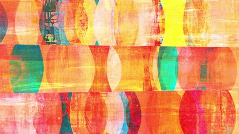 Retro mid-century-style abstract pop art background loop. Moving colorful shapes with grunge effects. Layered collage mixing textures from painting and photography.