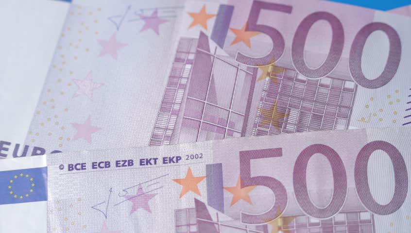 Ungraded: Counting euros macro shot. Euro banknotes falling down to blue table. Four 500-euro bills. Source: Canon EOS, ungraded H.264 from camera without re-encoding. (av12362u) | Shutterstock HD Video #17882320
